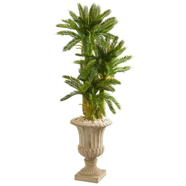 Nearly Natural 5 ft. Indoor Triple Cycas Artificial Plant in Urn