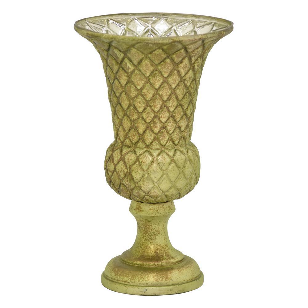 15 in. Glass Vase in Green