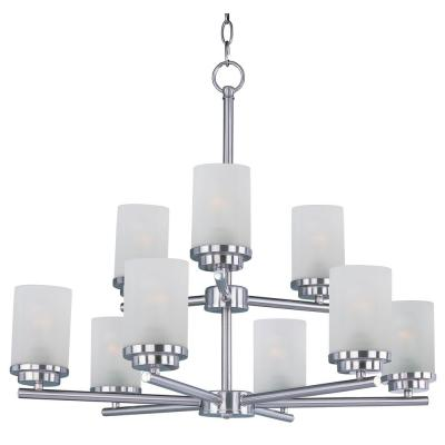 Corona 9-Light Satin Nickel Chandelier with Frosted Shade