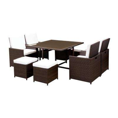 Myers Espresso 9-Piece Wicker Outdoor Dining Set with White Cushions