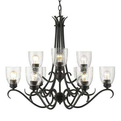 Parrish 9-Light Black Chandelier with Seeded Glass Shade