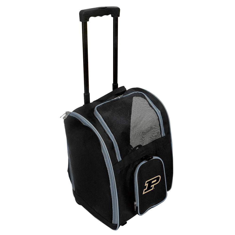 Denco NCAA Purdue Boilermakers Pet Carrier Premium Bag with wheels in Gray, Team Color