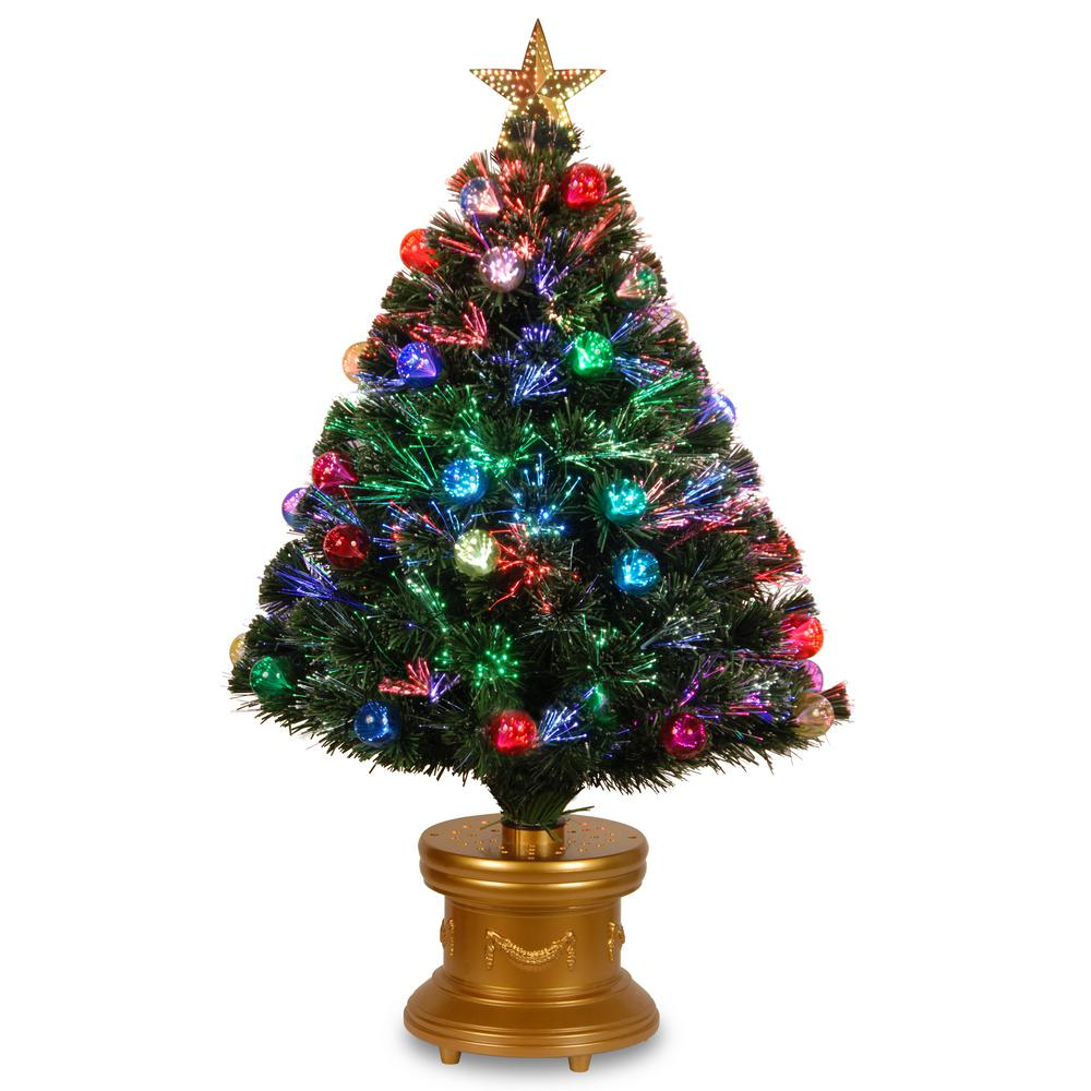 National Tree Company 36 in. Fiber Optic Fireworks Tree with Ball Ornaments