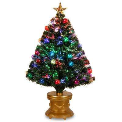 36 in fiber optic fireworks artificial christmas tree with ball ornaments - Fiberglass Christmas Decorations