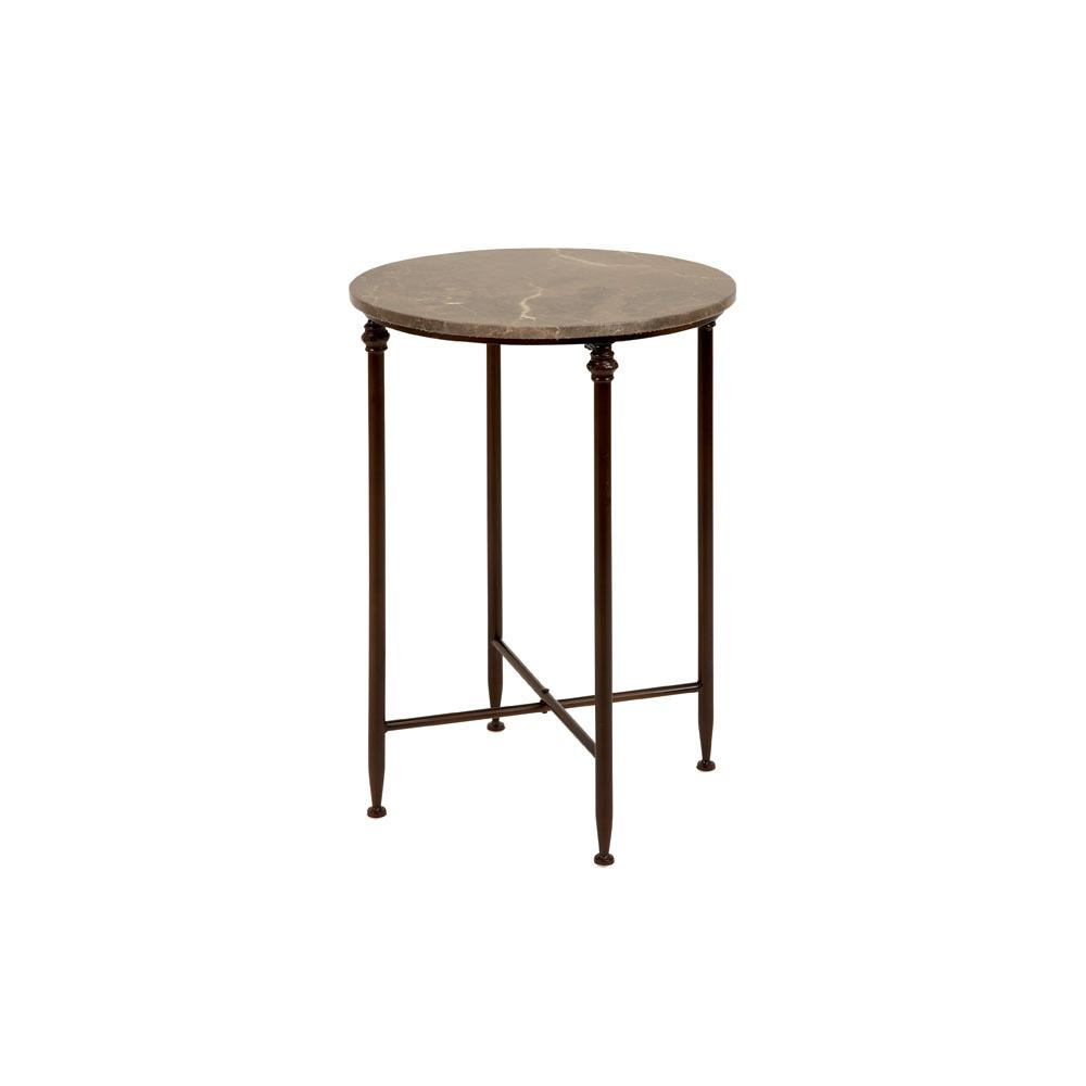 Beige marble round accent table with black iron legs 53804 for Black round end table