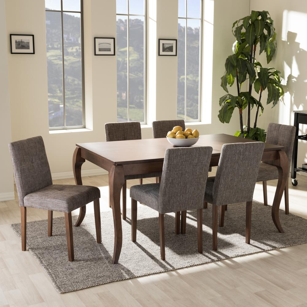 Captivating Baxton Studio Elsa 7 Piece Gray Fabric Upholstered Dining Set