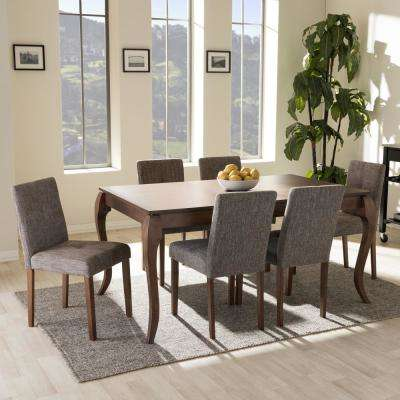 Elsa 7-Piece Gray Fabric Upholstered Dining Set