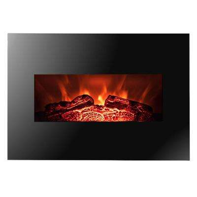 26 in. Wall Mount Electric Fireplace Heater in Black with Flat Tempered Glass, Log Bed