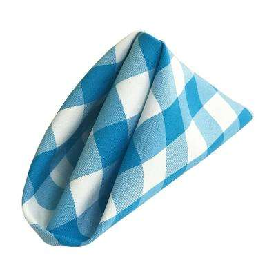 18 in. x 18 in. White and Turquoise Gingham Checkered Napkins (Pack of 10)