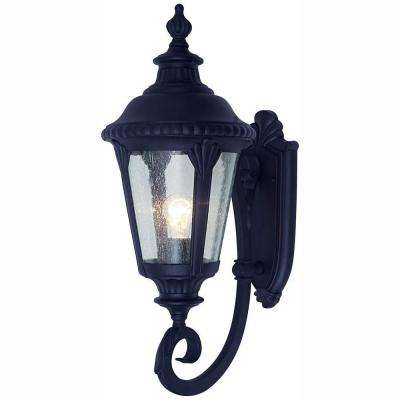 Breeze Way 1-Light Outdoor Black Coach Lantern with Seeded Glass