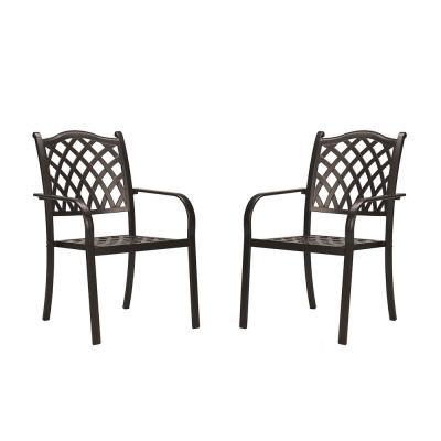 Classic Dark Brown Stacking Cast Aluminum Outdoor Dining Chair (2-Pack)