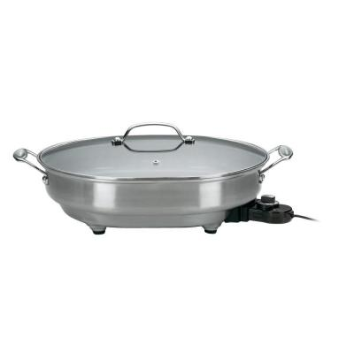 12 in. x 15 in. Stainless Steel Non-Stick Electric Skillet