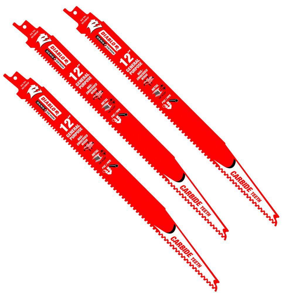 12 in. 9 TPI Demo Demon Carbide General Purpose Reciprocating Saw Blade (3-Pack)