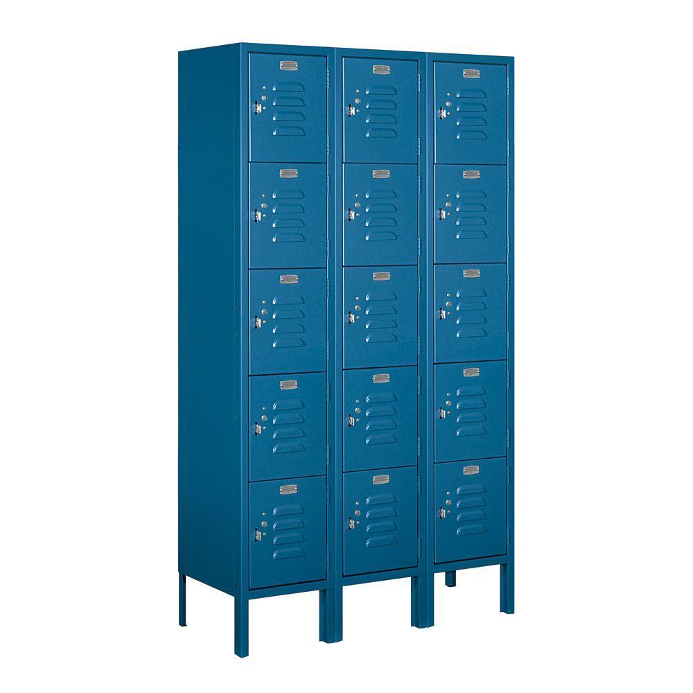 65000 Series 36 in. W x 66 in. H x 12 in. D 5-Tier Box Style Metal Locker Unassembled in Blue