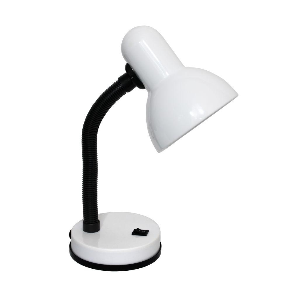 White Basic Metal Desk Lamp With Flexible Hose Neck