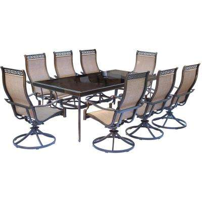 Monaco 9-Piece Aluminum Outdoor Dining Set with Rectangular Glass-Top Table and Contoured Sling Swivel Chairs