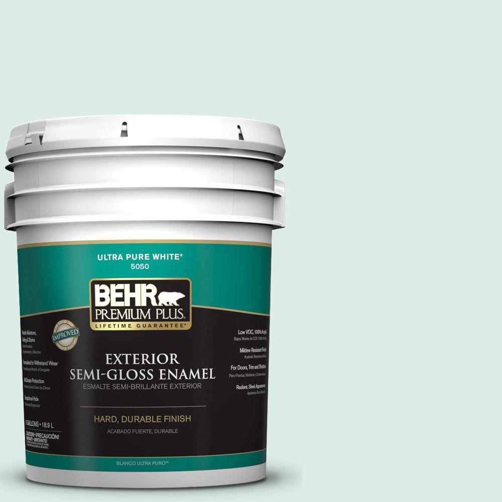 BEHR Premium Plus 5-gal. #M420-1 Sparkling Brook Semi-Gloss Enamel Exterior Paint