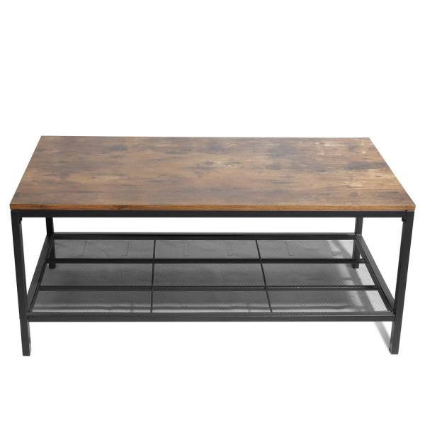Boyel Living Brown Industrial Coffee Table 2nd Floor Cocktail Table Metal Frame Living Room Sofa Table Ljr W36815719 The Home Depot