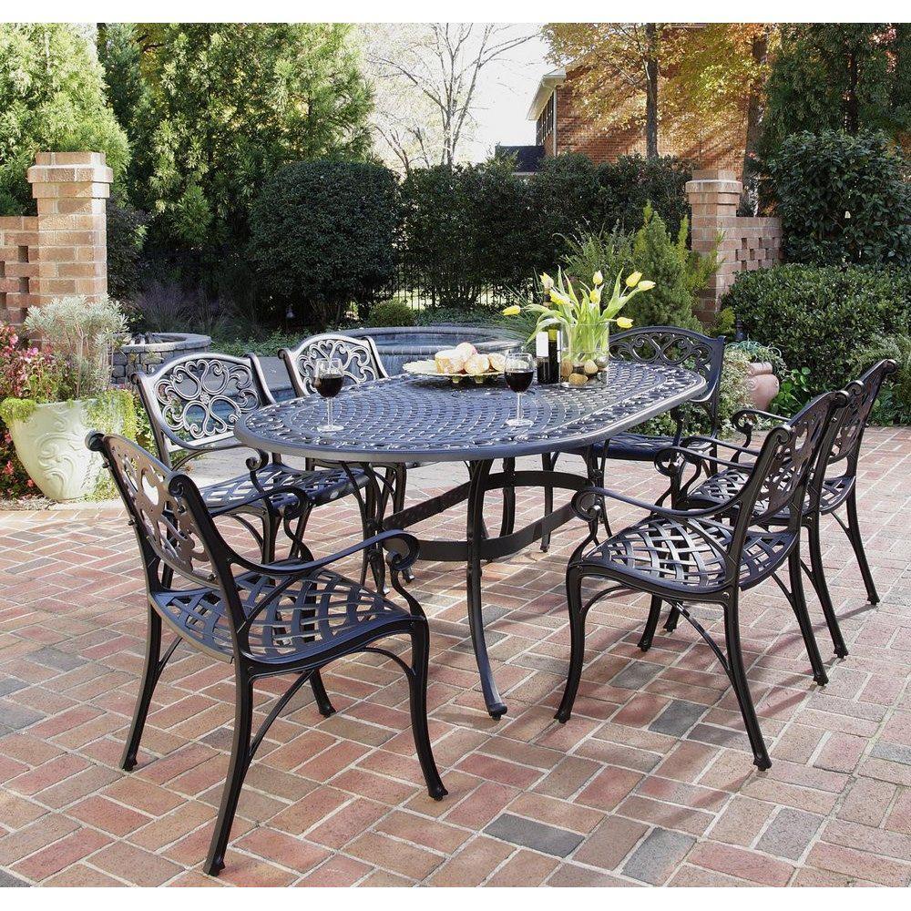Sanibel Black 7-Piece Cast Aluminum Outdoor Dining Set