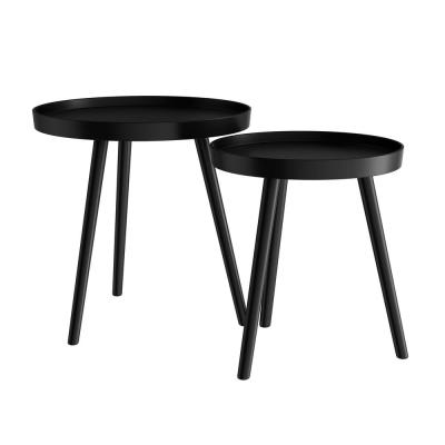 Wooden Nesting Round Tray Top Matte Black Side Tables (Set of 2)