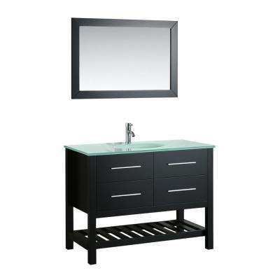 Bosconi 43 in. W Single Bath Vanity in Black with Tempered Glass Vanity Top in White with White Basin and Mirror
