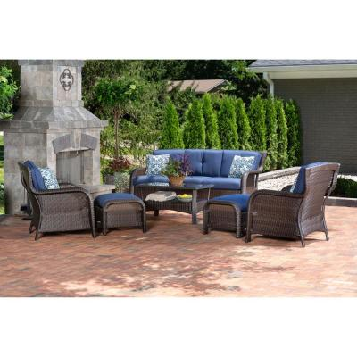Strathmere 6-Piece Wicker Patio Conversation Set with Navy Blue Cushions