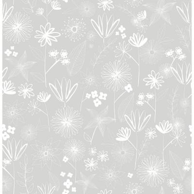 56.4 sq. ft. Mariska Grey Meadow Wallpaper