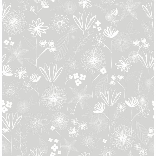 Brewster 56.4 sq. ft. Mariska Grey Meadow Wallpaper HN002645