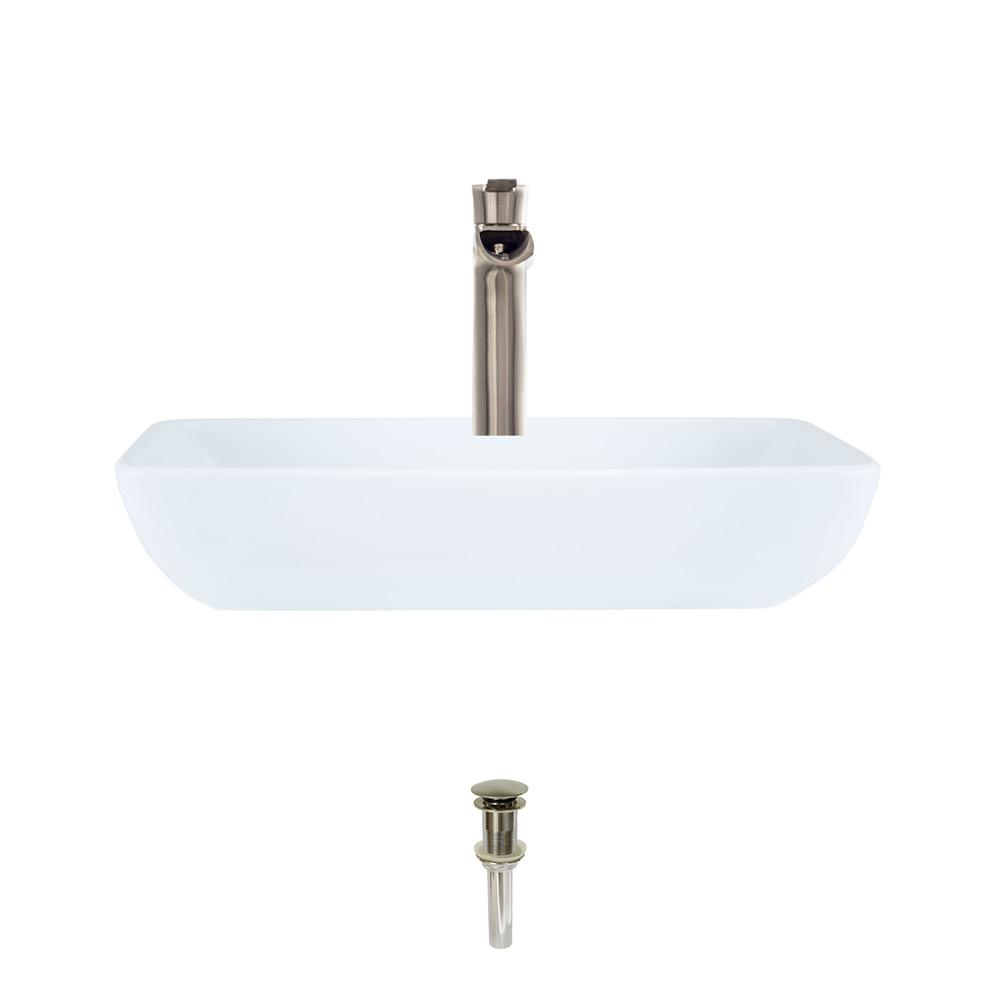 MR Direct Porcelain Vessel Sink in White with 731 Faucet and Pop-Up Drain in Brushed Nickel