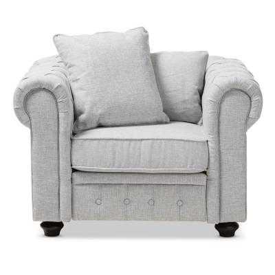 Alaise Grey Fabric Upholstered Chesterfield Chair