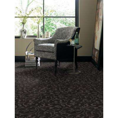 Carpet Sample - Swirling Vines - Color Desert Sand Pattern 8 in x 8 in.
