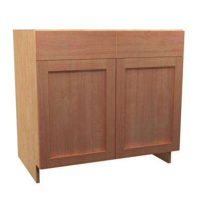 36x34.5x24 in. Elice Sink Base Cabinet with Pullout Caddy 2 Soft Close Doors and 2 False Drawer Fronts in Cumin