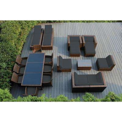Mixed Brown 20-Piece Wicker Patio Combo Conversation Set with Spuncrylic Gray Cushions