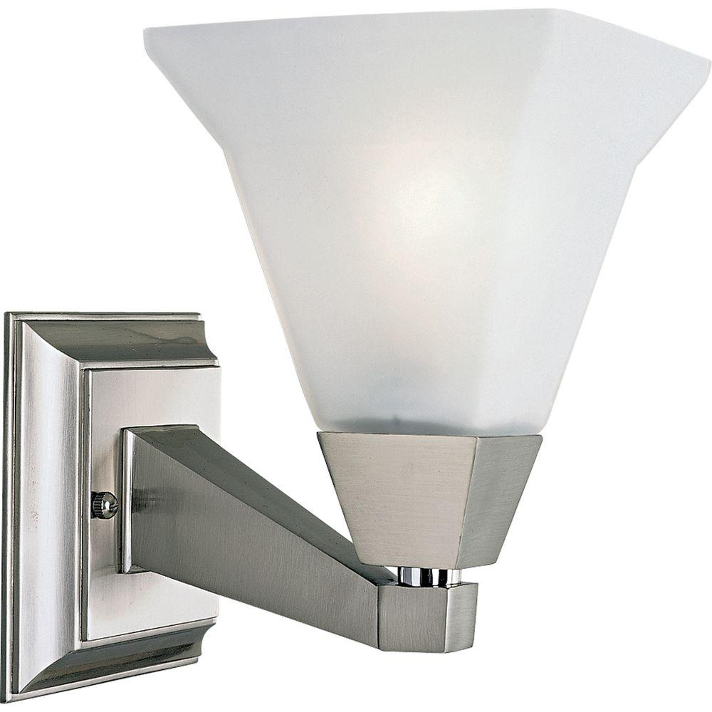 Glenmont Collection 1-Light Brushed Nickel Bath Sconce with Opal Etched Glass