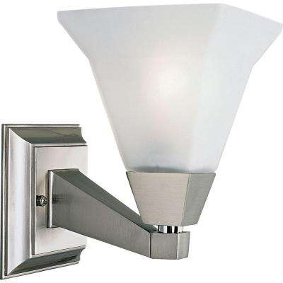 Glenmont Collection 1-Light Brushed Nickel Bath Sconce with Opal Etched Glass Shade