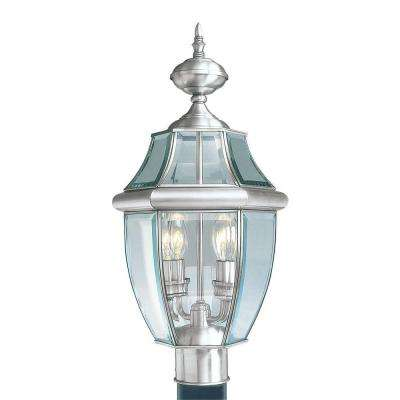 2-Light Outdoor Brushed Nickel Post Head with Clear Beveled Glass