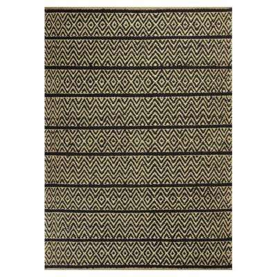Diamond Stripe Black/Beige 8 ft. x 10 ft. Area Rug
