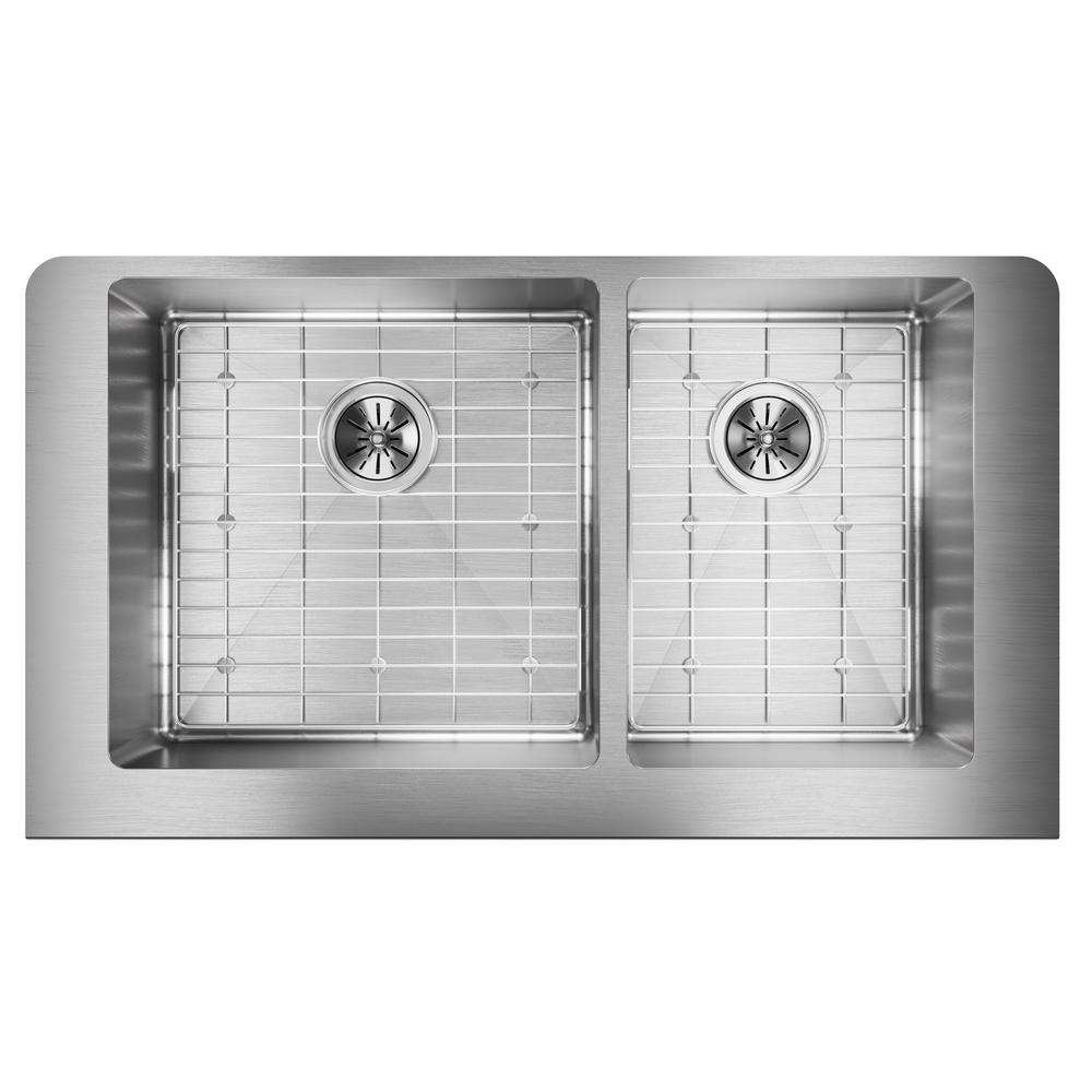 Crosstown Farmhouse Apron Front Stainless Steel 35 in. Double Bowl Kitchen