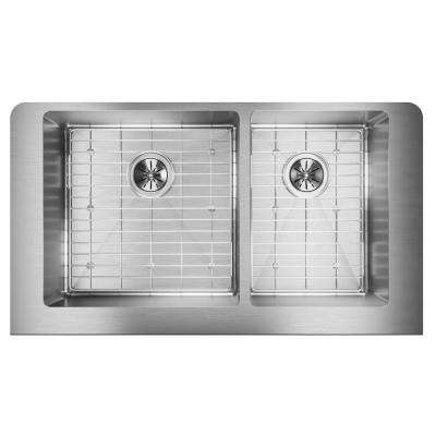 Crosstown Farmhouse Apron Front Stainless Steel 35 in. Double Bowl Kitchen Sink Kit