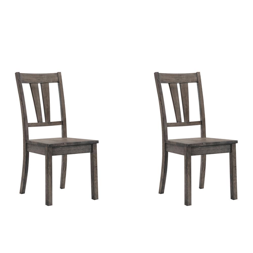 Grayson Gray Oak Fan Back Chair with Wooden Seat by