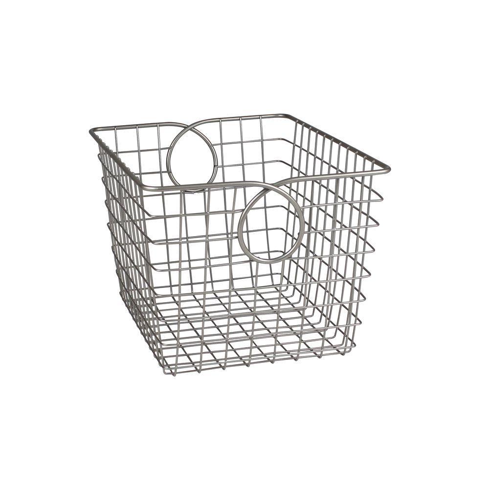 Teardrop 9.625 in. W x 12.75 in. D x 8 in. H Small Basket in Satin Nickel PC