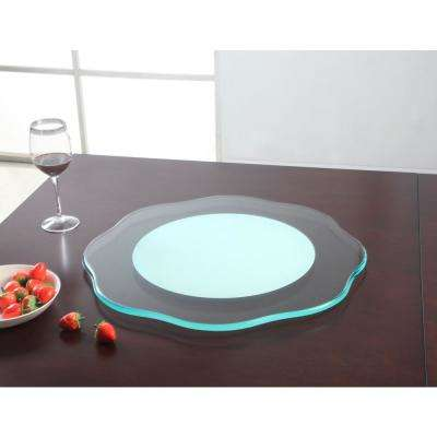 24 in. Round Lazy Susan Flower Glass Spinning Tray