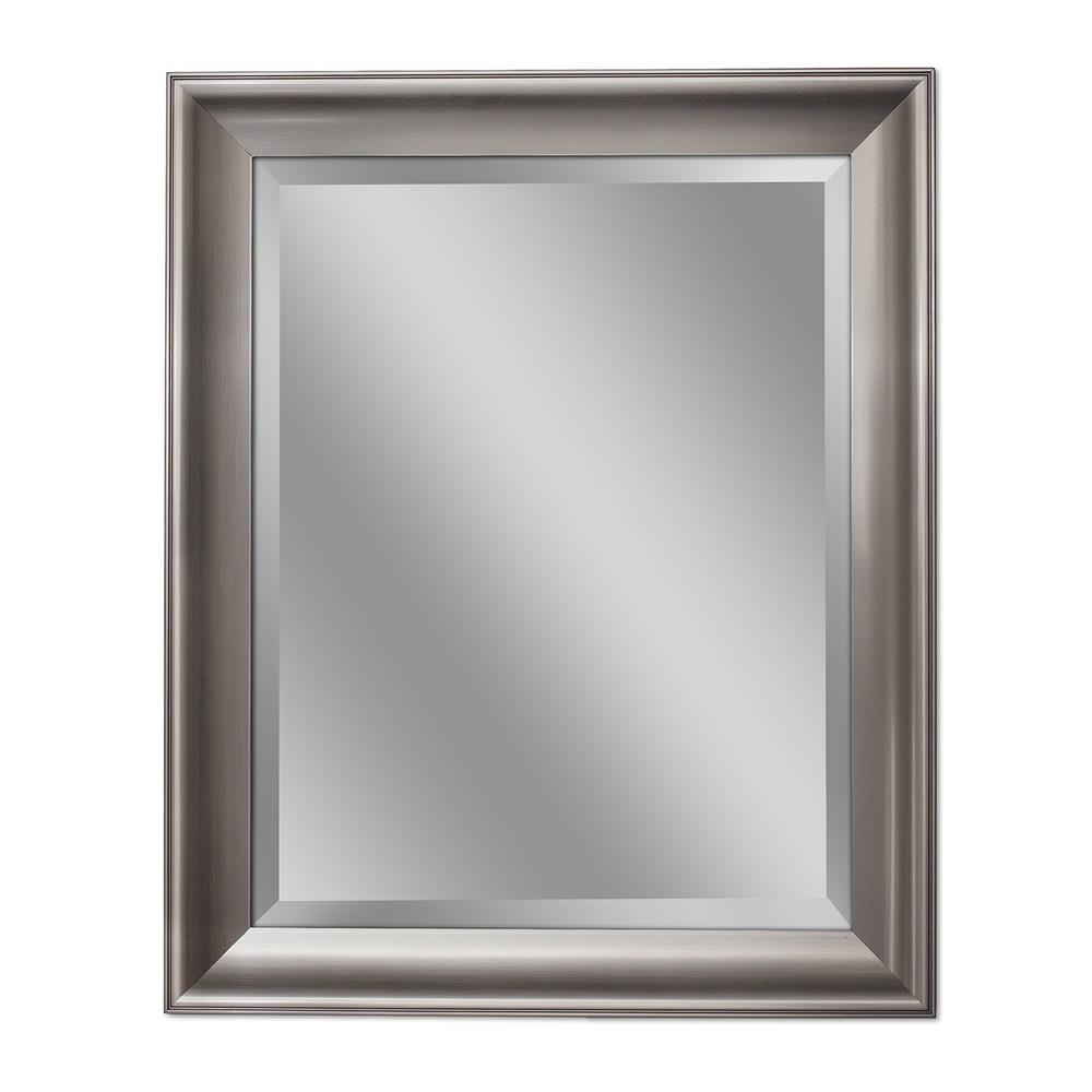 Deco Mirror 30 In W X 42 In H Transitional Wall Mirror In Brush
