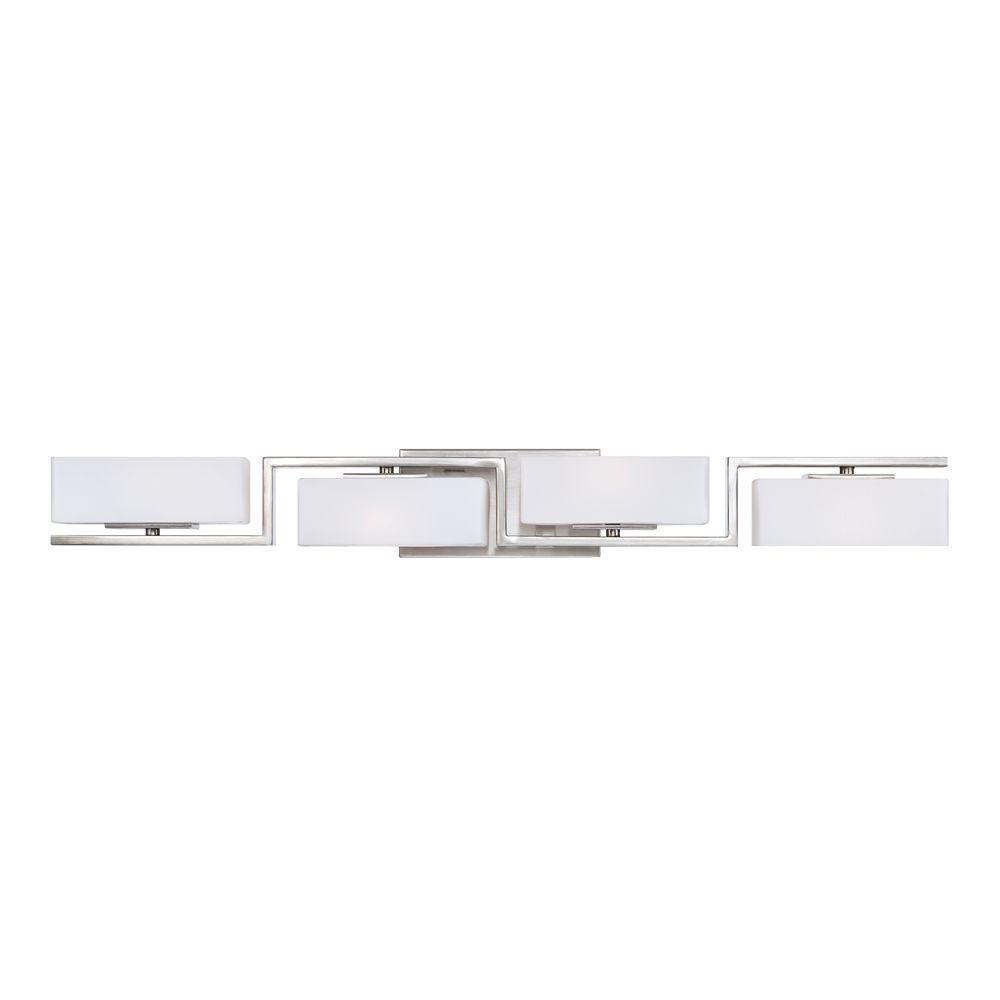 Bathroom halogen light fixtures - Designers Fountain Meridian 4 Light Satin Platinum Interior Halogen Bath Vanity Light 6714 Sp The Home Depot