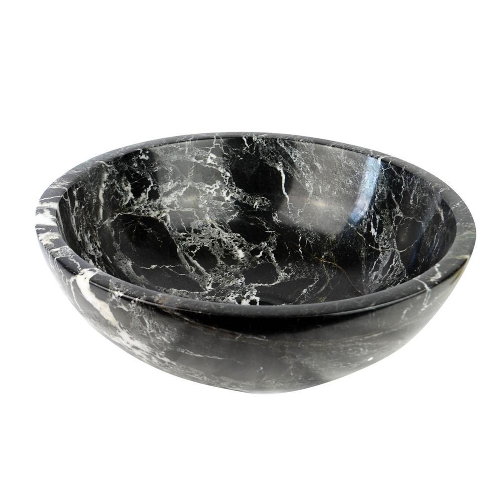 Round Marble Stone Vessel Sink in Black Zebra