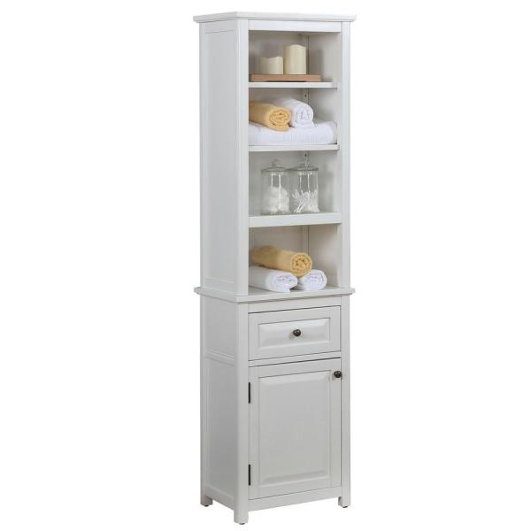 Dorset Bathroom 17 in. W Freestanding Storage Tower with Open Upper Shelves, Lower Cabinet and Drawer in White