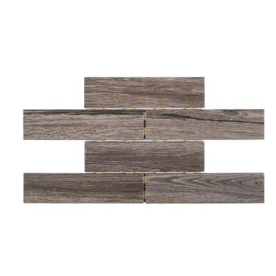Lost Hills Brown 14.125 in. x 9.75 in. x 8 mm Interlocking Textured Matte Porcelain Wall and Floor Mosaic Tile