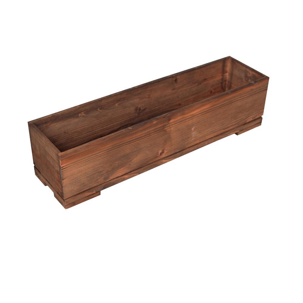 Bristol 32 in. W x 8 in. D x 8 in. H Rectangular Wooden Brown Planter