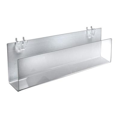 16 in. W x 1.5 in. D x 5 in. H Clear Acrylic Holders for Pegboard or Slatwall (2-Pack)