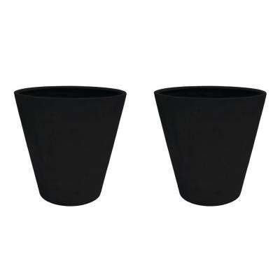 30 in. Dia Aged Charcoal Composite Commercial Planter (2-Pack)